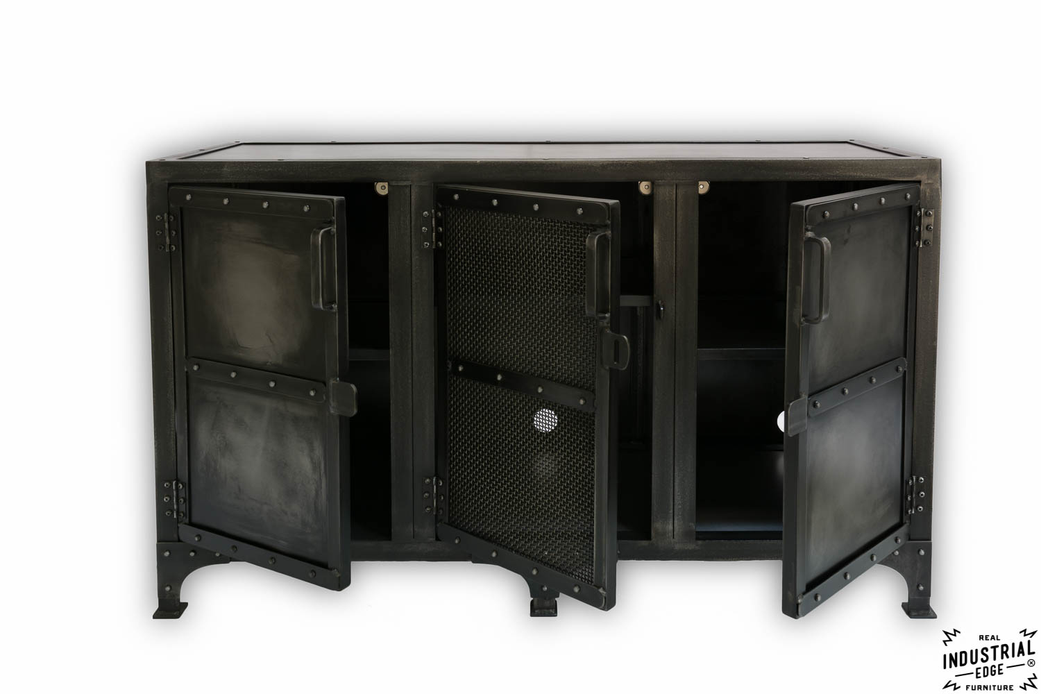 Cold Roll Steel Media Cabinet Charcoal Patina Real