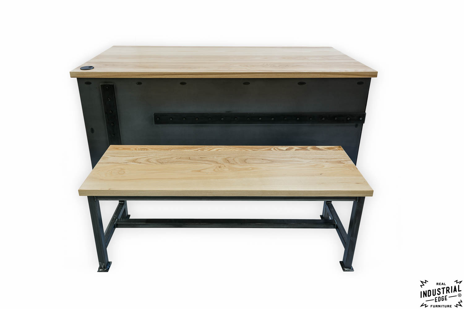 Ash amp steel desk with client bench real industrial edge furniture