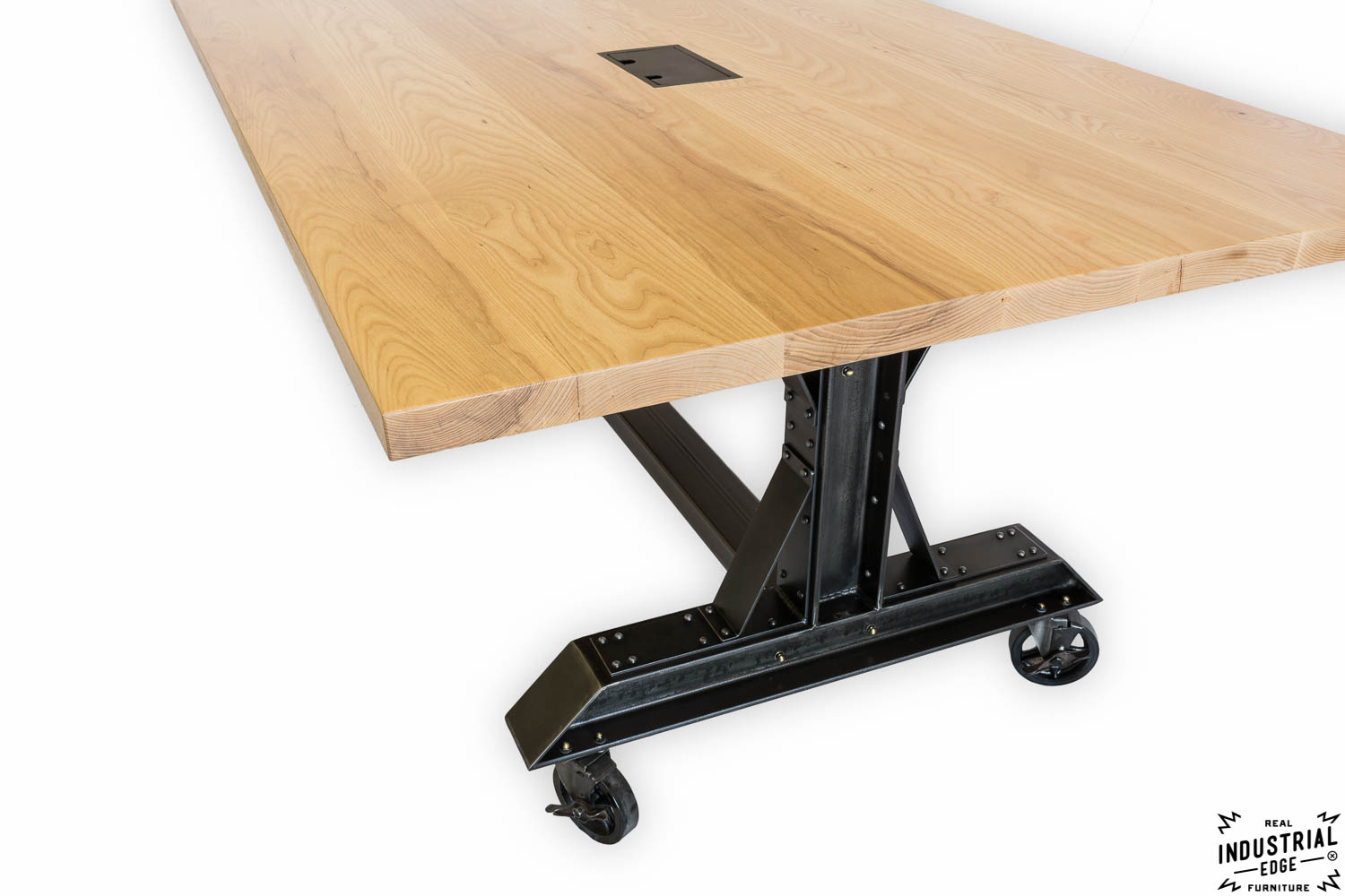 Post industrial conference table vintage industrial furniture - Ash Steel Rolling Conference Table