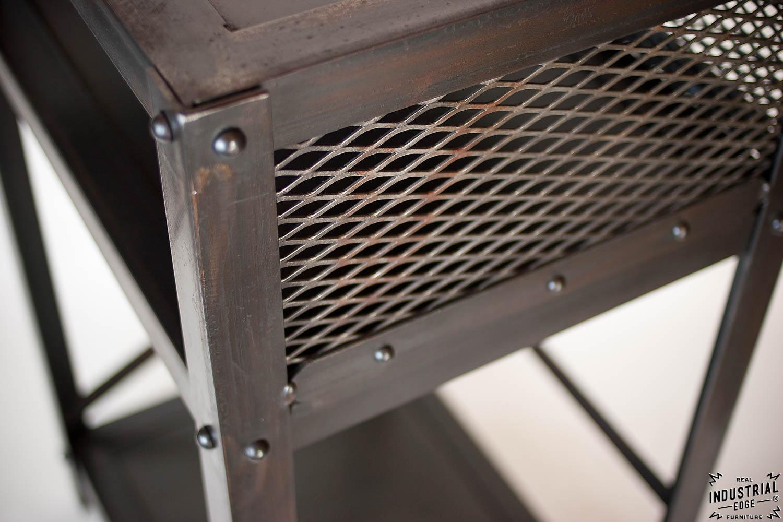 Industrial End Table Steel Real Industrial Edge Furniture Custom Industrial Vintage Handmade