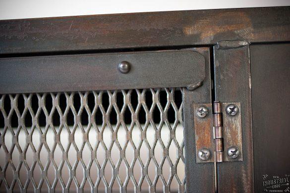 Custom Industrial Chic Media Cabinet Steel 2 Door Real