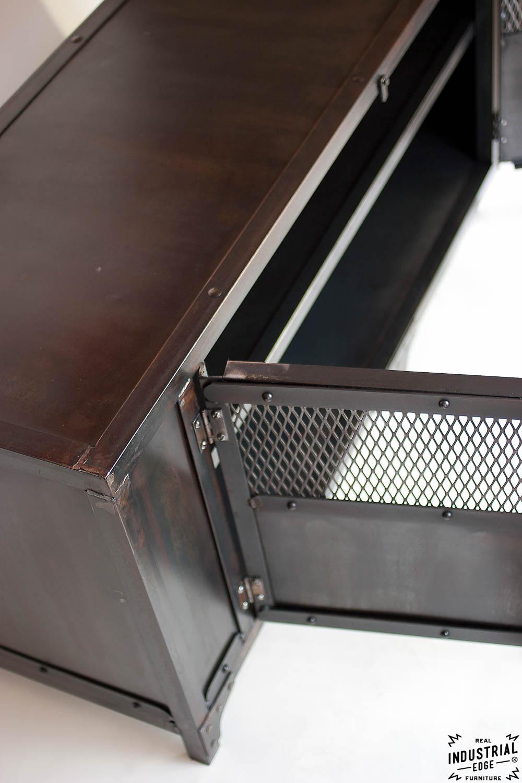 Custom Industrial Chic Media Cabinet Steel 2 Door