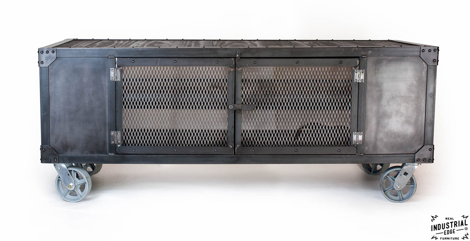 Industrial Rolling Media Cabinet / Wood & Steel – Real Industrial ...
