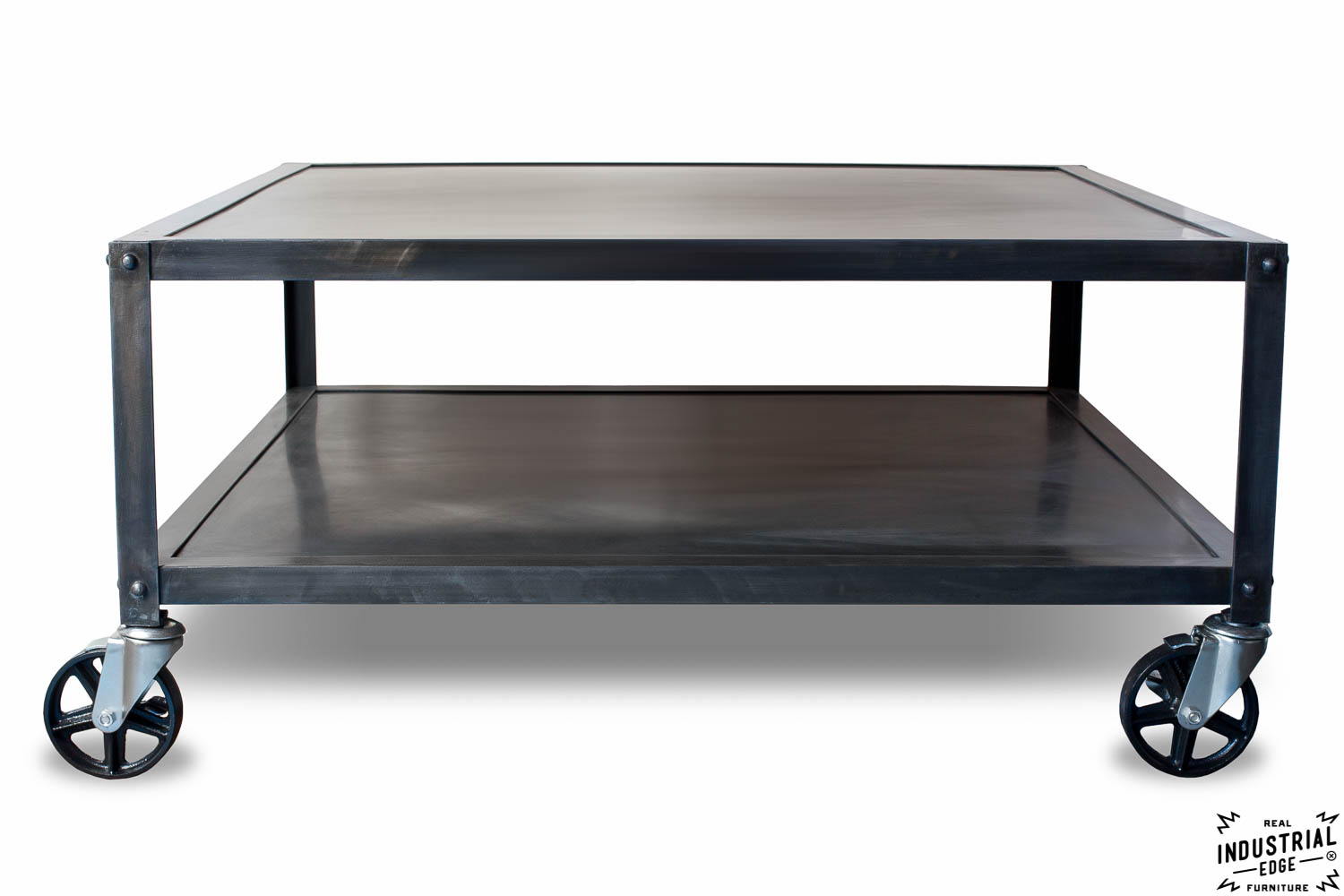 Industrial steel rolling coffee table real industrial edge furniture custom industrial Industrial metal coffee table