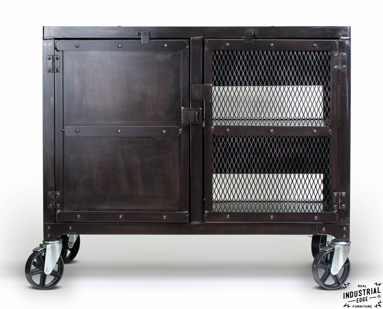 Industrial Rolling Kitchen Cart Wine Cabinet Real Industrial Edge Furniture Custom