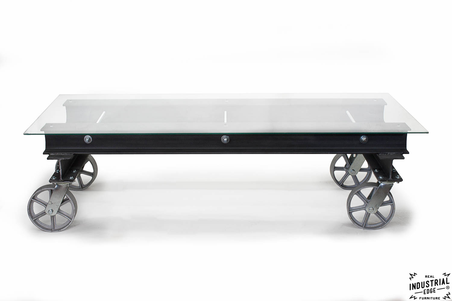I beam coffee table glass top real industrial edge for Heavy glass coffee tables