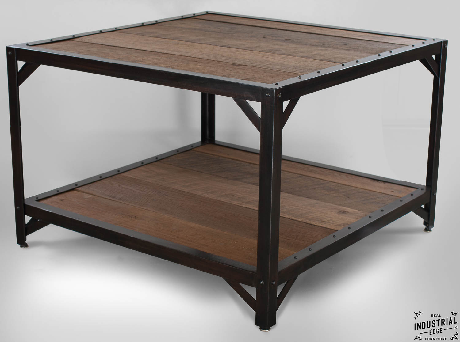 Coffee Table Reclaimed Oak Steel Real Industrial Edge Furniture Custom Industrial