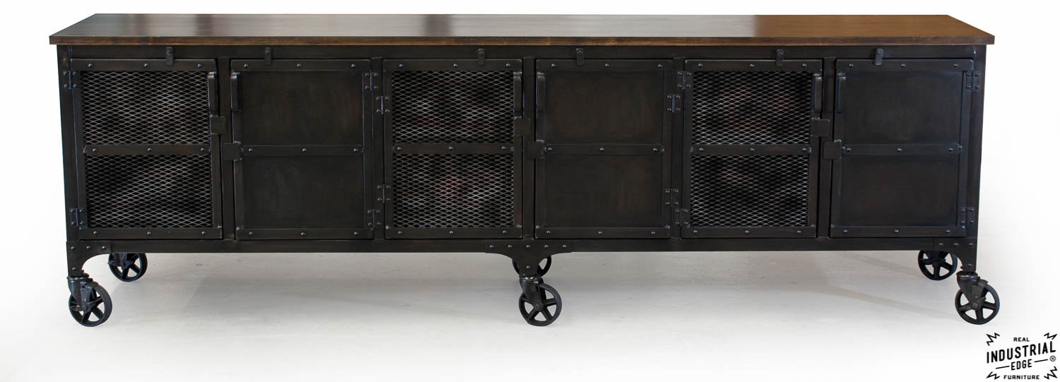 Custom Industrial 9 Foot Rolling Media Cabinet Wood