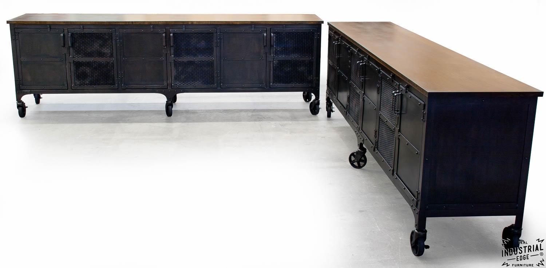 Custom Industrial 9 Foot Rolling Media Cabinet Wood