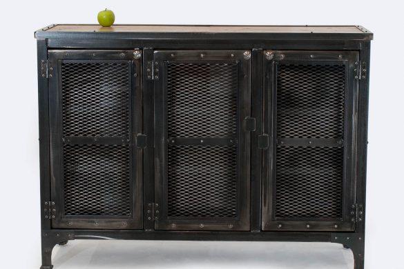 Custom Locking Wine Cellar Cabinet / Steel & Reclaimed Oak
