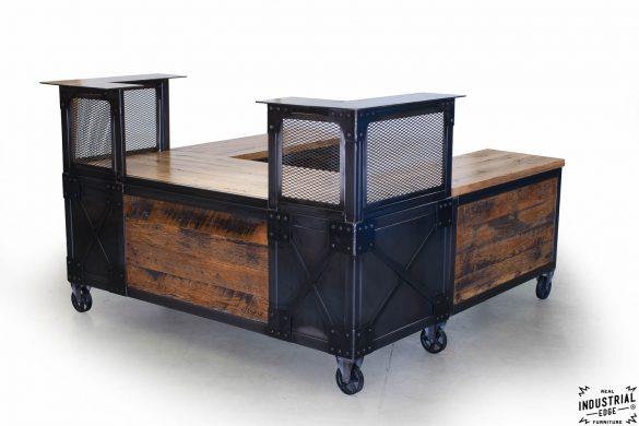 Reclaimed Wood & Steel Reception Desk