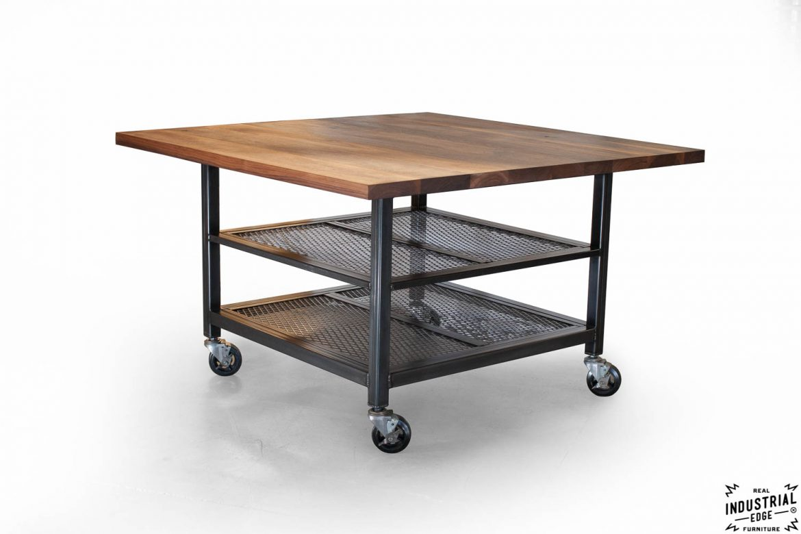 Walnut steel industrial kitchen island dining table for Kitchen island dining table