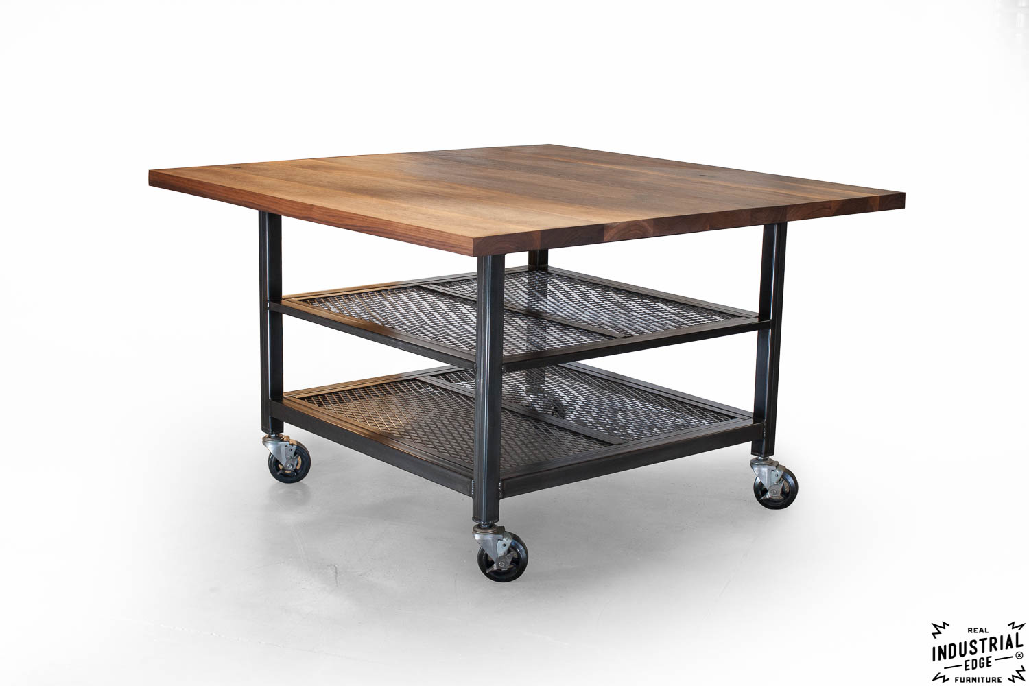 Walnut steel industrial kitchen island dining table real industrial edge furniture - Industrial kitchen tables ...