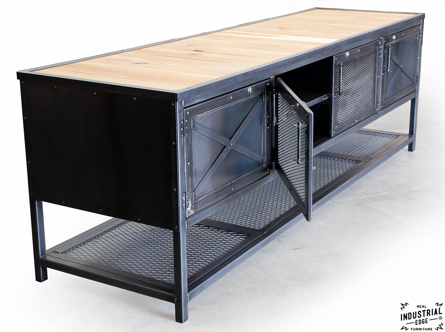 Custom Industrial Kitchen Island Reclaimed Wood Steel Real Industrial Edge Furniture