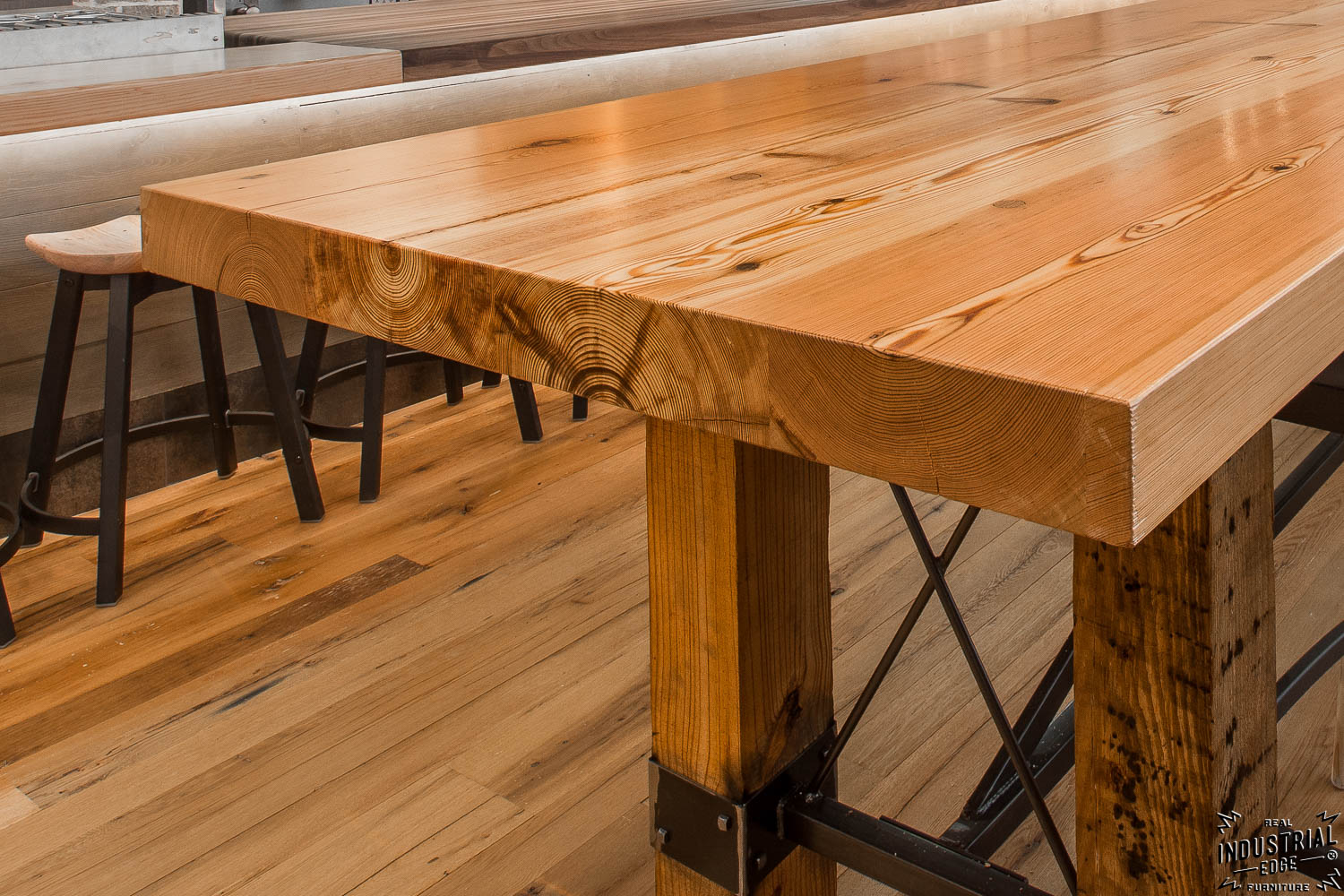 Community Tasting Table Reclaimed Heart Pine Amp Steel Real Industrial Edge Furniture Custom