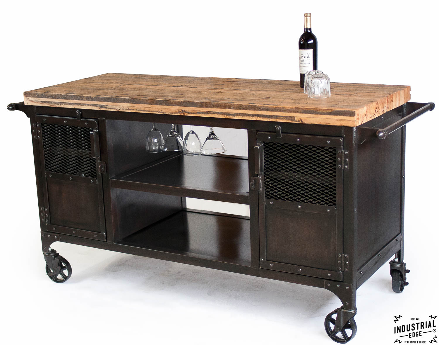 industrial mini bar reclaimed train car floor top real industrial edge furniture custom. Black Bedroom Furniture Sets. Home Design Ideas