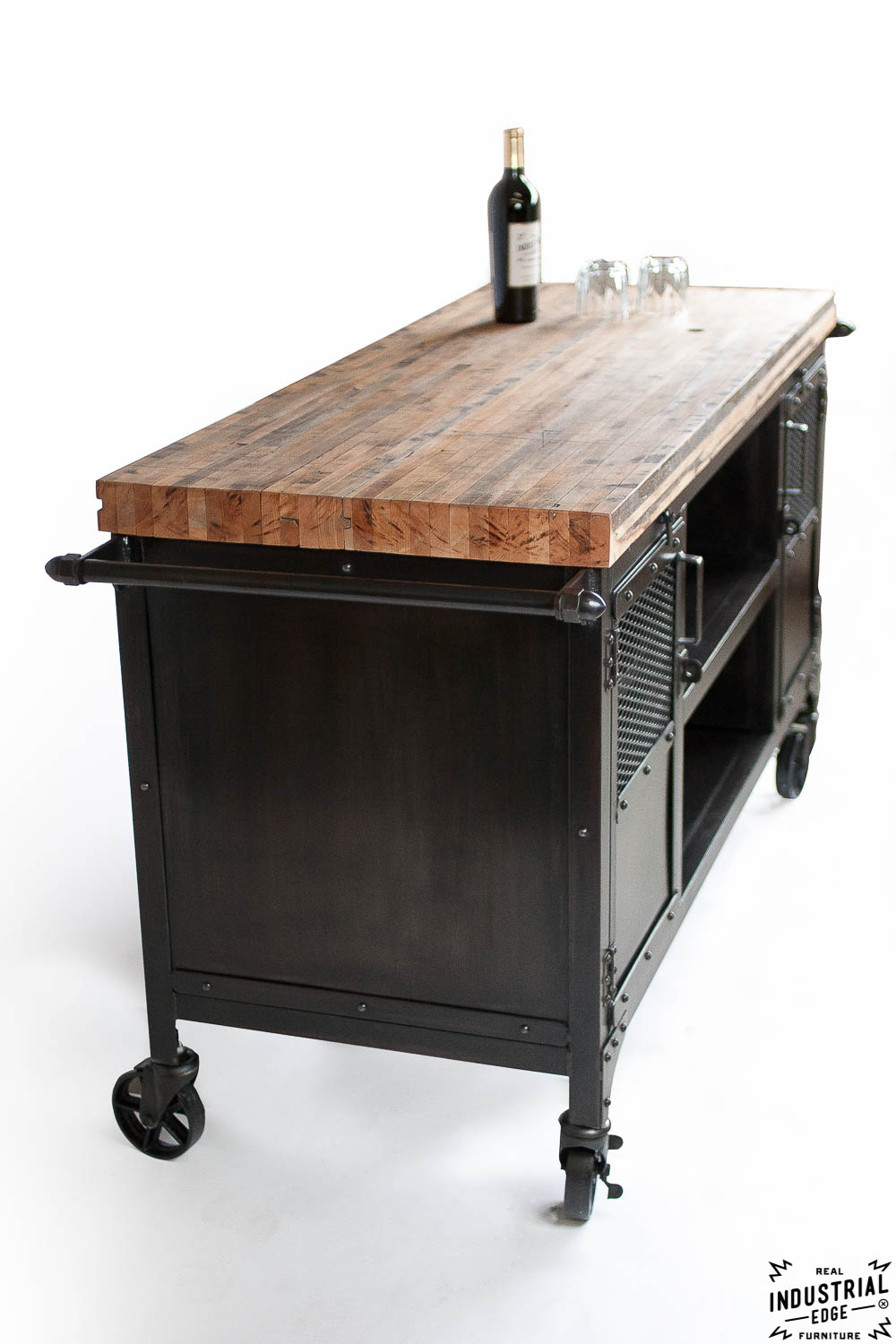 Industrial mini bar reclaimed train car floor top real industrial edge fu - Mini bar table design ...