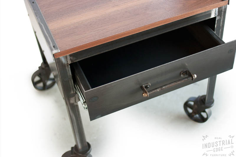 Industrial Side Table With Casters Real Industrial Edge