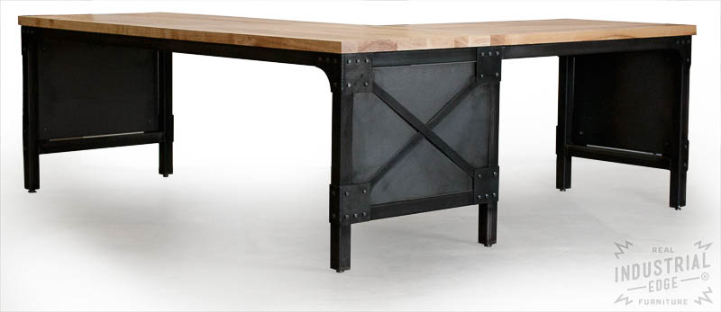 Custom Industrial L Desk / Solid Ash Top