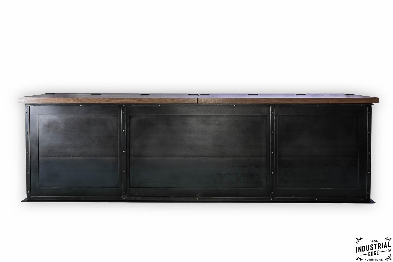 Steel Storage Bench Solid Walnut Top Real Industrial