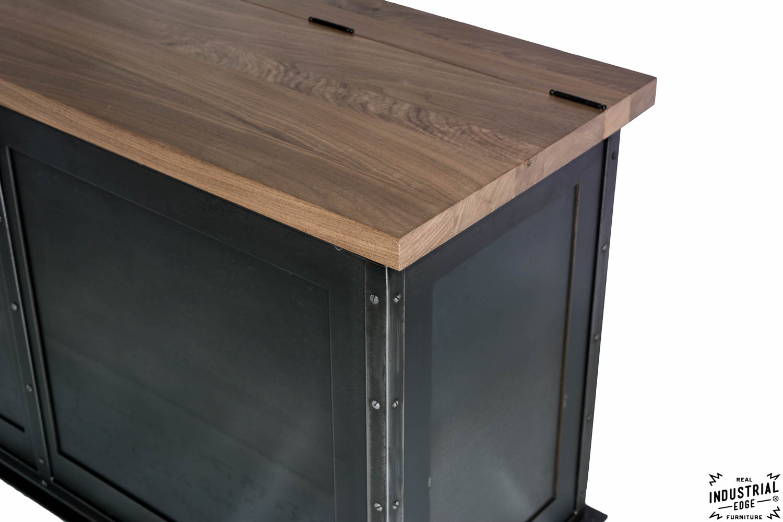 Miraculous Steel Storage Bench Solid Walnut Top Real Industrial Machost Co Dining Chair Design Ideas Machostcouk