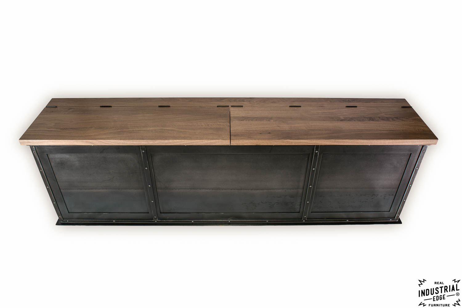 Perfect Steel Storage Bench / Solid Walnut Top