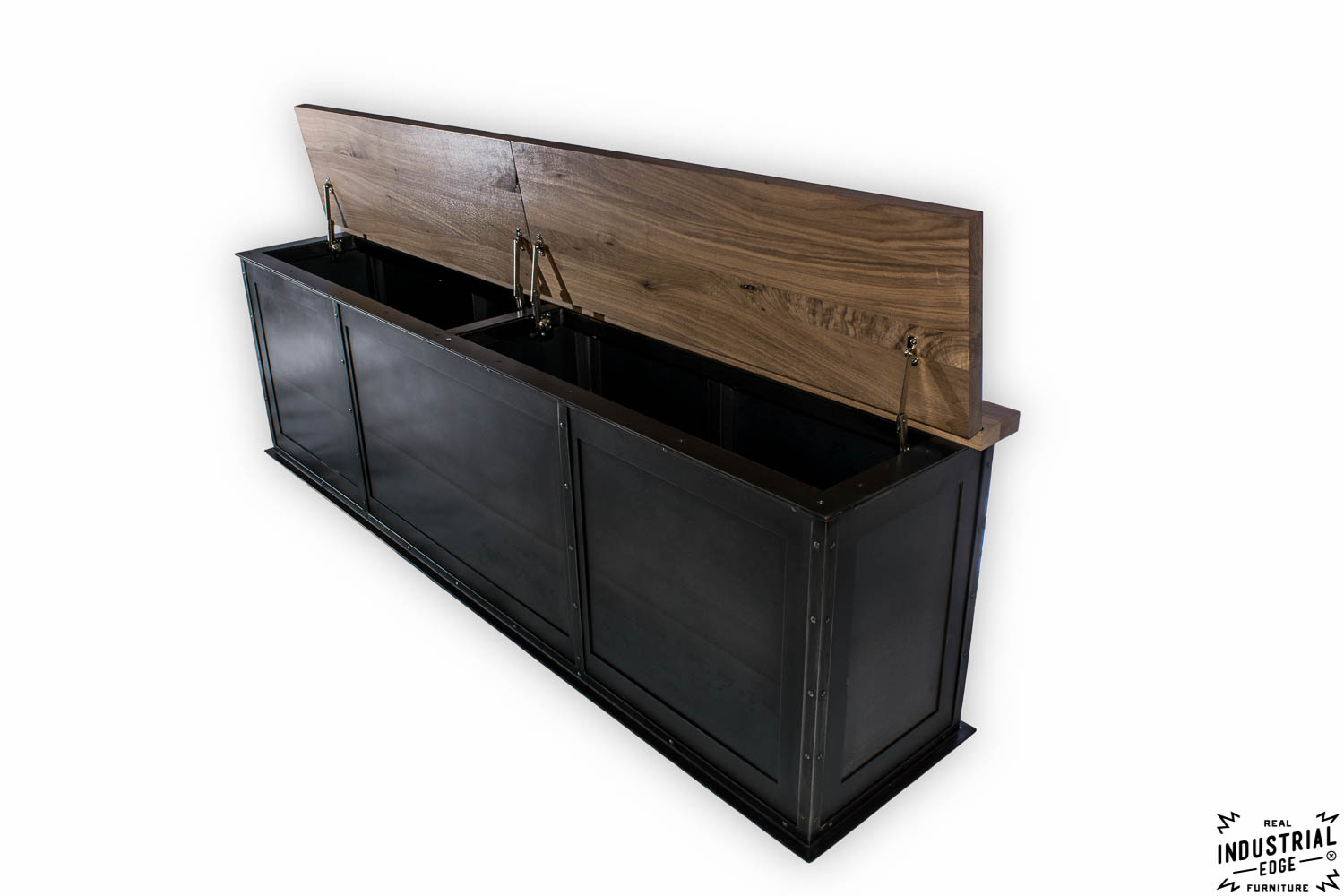 Steel Storage Bench Solid Walnut Top Real Industrial