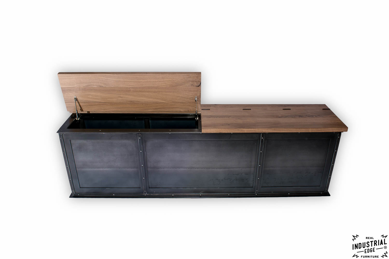 Amazing Steel Storage Bench / Solid Walnut Top