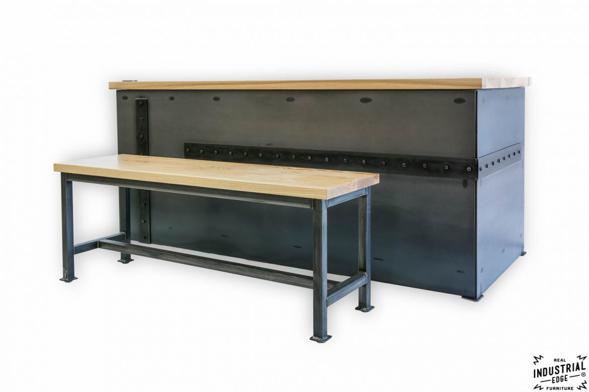 Ash & Steel Desk with Client Bench