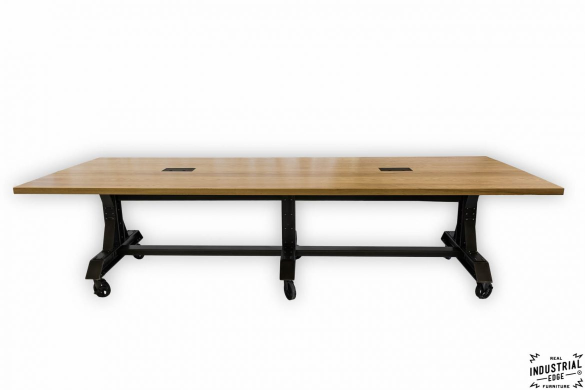 Ash & Steel Rolling Conference Table