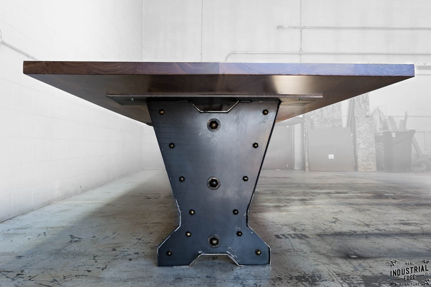 Foot Walnut Steel Conference Table Real Industrial Edge - Industrial conference room table