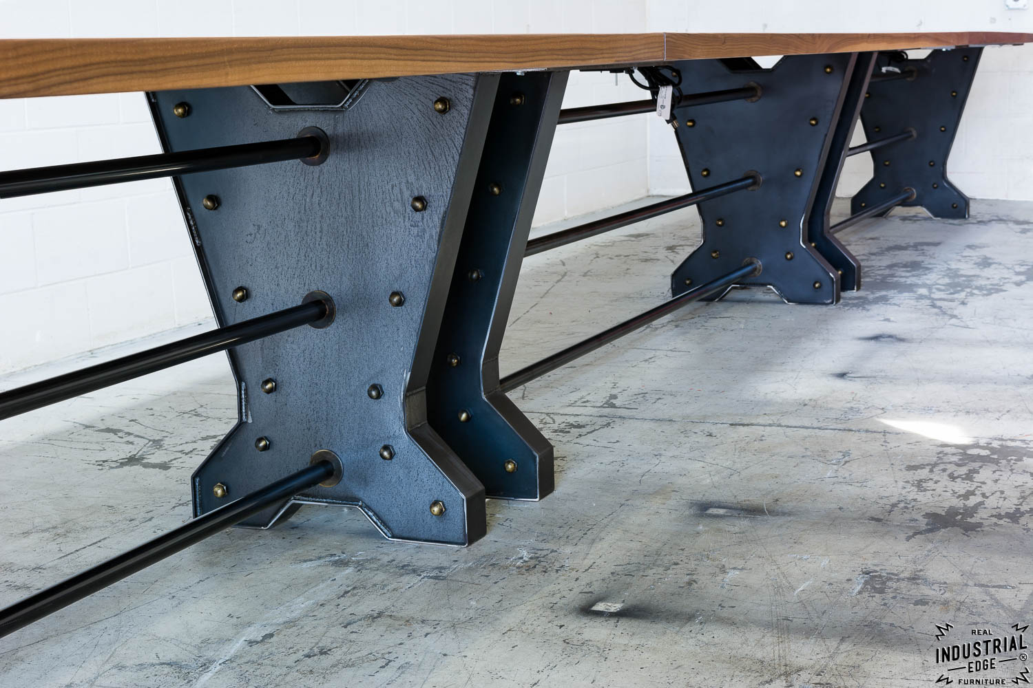 30 Ft Walnut U0026 Steel Conference Table / Aged Brass Accents