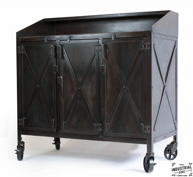Industrial Custom Hostess Stand / Rolling / 3 Door