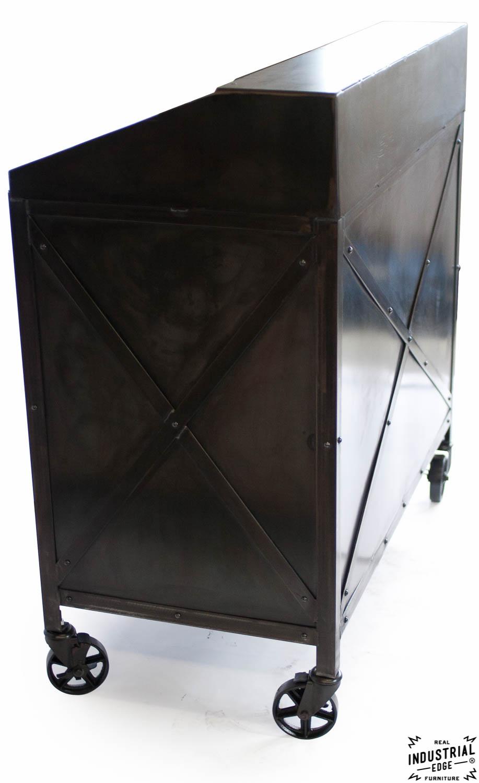 Industrial Custom Hostess Stand Rolling 3 Door Real