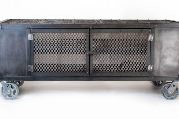 Industrial Rolling Media Cabinet / Wood & Steel
