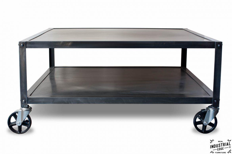 Industrial Steel Rolling Coffee Table