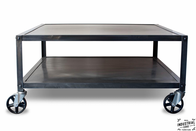 industrial steel rolling coffee table real industrial. Black Bedroom Furniture Sets. Home Design Ideas