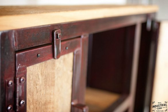 Industrial Entryway Shelf / Red Patina & Reclaimed Hemlock
