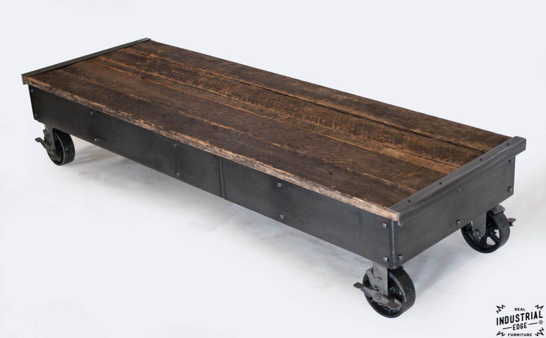 Reclaimed Wood & Steel Rolling Display