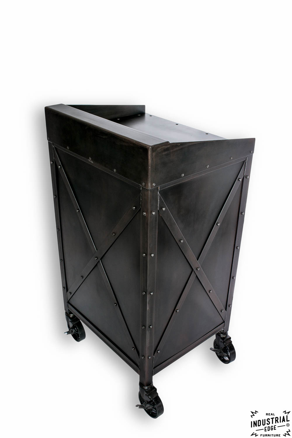 x series    small hostess stand    point of sale  u2013 real industrial edge furniture
