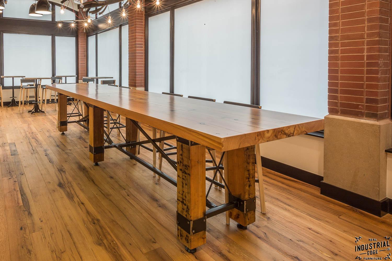 Community Tasting Table / Reclaimed Heart Pine U0026 Steel