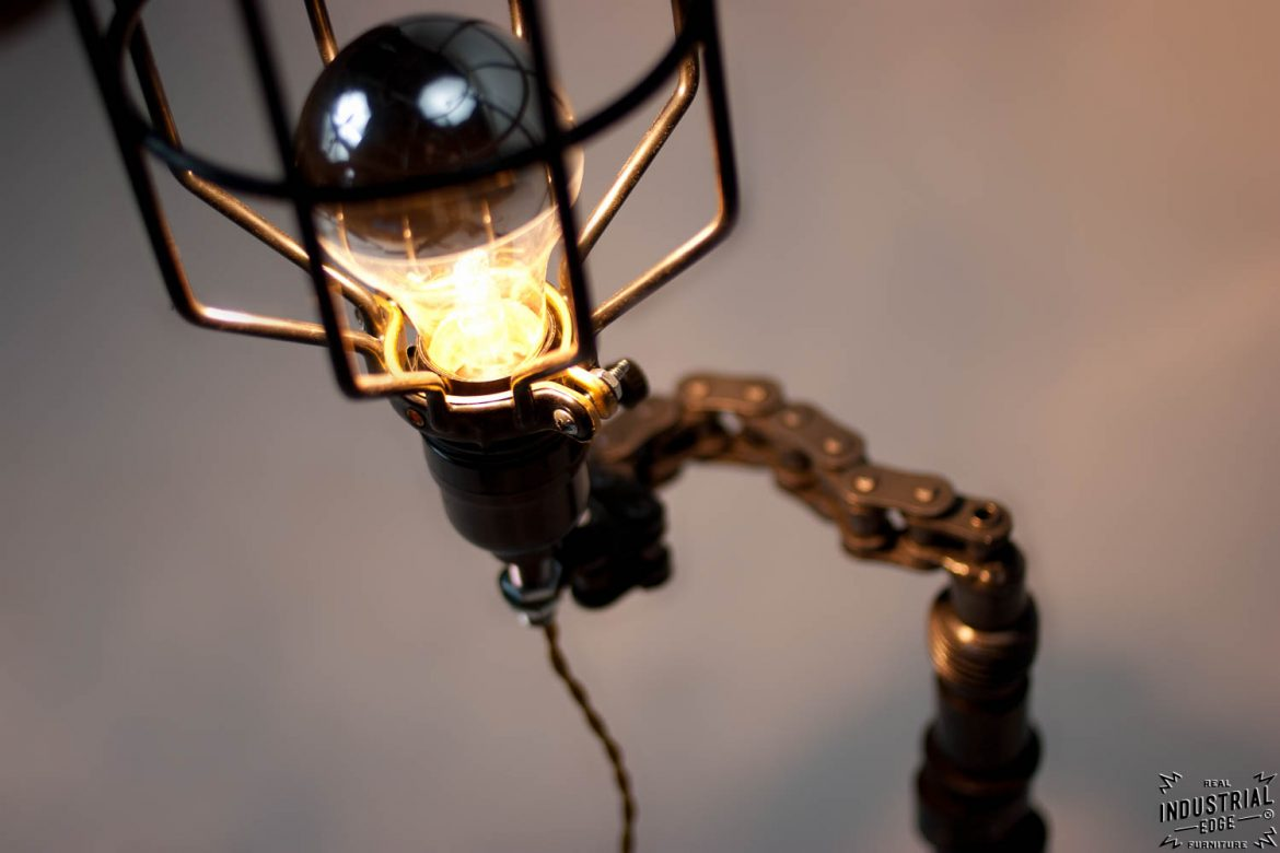 Upcycled Motorcycle-Chain Lamp