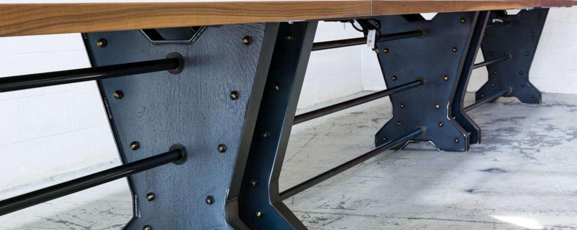 30ft Walnut & Steel Conference Table / Aged Brass Accents