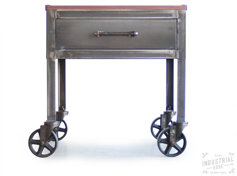 Industrial Side Table with Casters