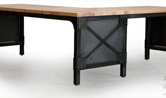Custom Industrial L Desk / Solid Ash Top